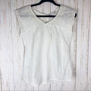 Prana XS white polka dot shirt sleeve top